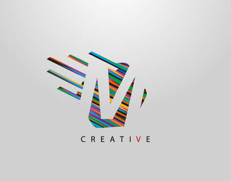 Fast M Letter Logo. Creative Modern Abstract Geometric Initial M Design, made of various colorful pop art strips shapes