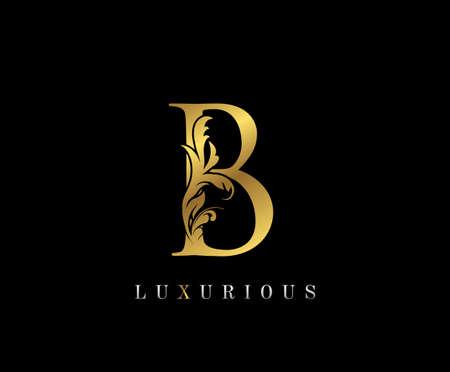 Gold Elegant letter B. Graceful style icon. Calligraphic beautiful logo. Vintage drawn emblem for book design, brand name, wedding card, Restaurant, Boutique, Hotel.
