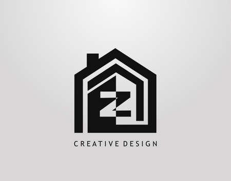 Z Letter Logo. Minimalist house shape with negative Z letter, Real Estate Building Icon Design. Logo