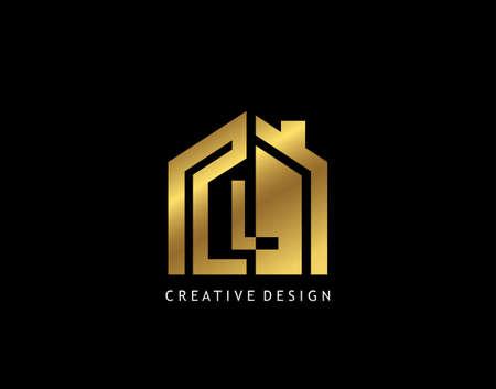 Golden L Letter Logo. Minimalist gold house shape with negative L letter, Real Estate Building Icon Design.