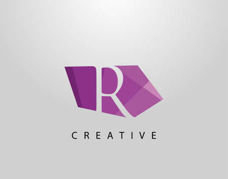 Letter R Abstract Gem Stone Logo. Creative R letter design with polygonal purple color on abstract stone shapes.