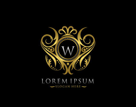 Luxury Boutique W Letter Logo. Classy Elegant gold circle badge design for Boutique, Letter Stamp, Wedding Logo,  Hotel, Heraldic, Jewelry.