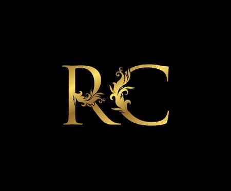Vintage Gold R, C and RC Letter Floral logo. Classy drawn emblem for book design, weeding card, brand name, business card, Restaurant, Boutique, Hotel.