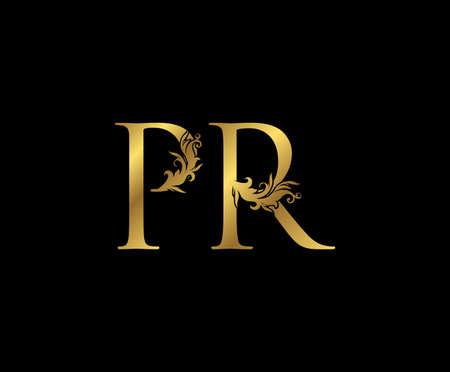 Vintage Gold P, R and PR Letter Floral logo. Classy drawn emblem for book design, weeding card, brand name, business card, Restaurant, Boutique, Hotel.