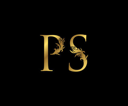 Vintage Gold P, S and PS Letter Floral logo. Classy drawn emblem for book design, weeding card, brand name, business card, Restaurant, Boutique, Hotel.