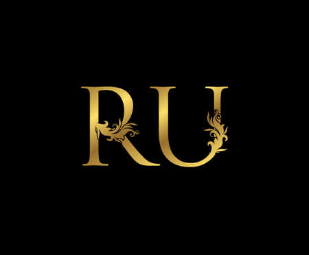 Vintage Gold R, U and RU Letter Floral logo. Classy drawn emblem for book design, weeding card, brand name, business card, Restaurant, Boutique, Hotel.