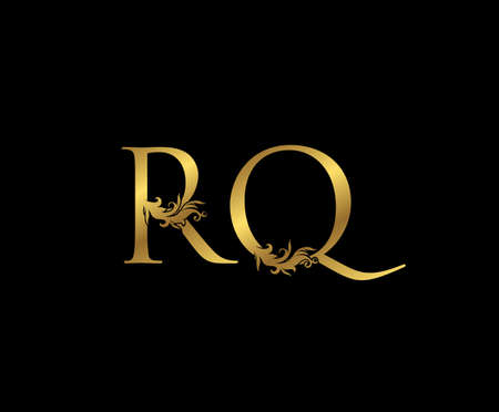 Vintage Gold R, Q and RQ Letter Floral logo. Classy drawn emblem for book design, weeding card, brand name, business card, Restaurant, Boutique, Hotel.