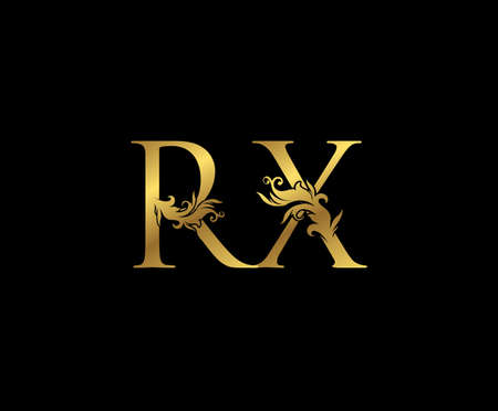 Vintage Gold R, X and RX Letter Floral logo. Classy drawn emblem for book design, weeding card, brand name, business card, Restaurant, Boutique, Hotel.