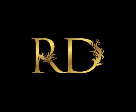 Vintage Gold R, D and RD Letter Floral logo. Classy drawn emblem for book design, weeding card, brand name, business card, Restaurant, Boutique, Hotel.