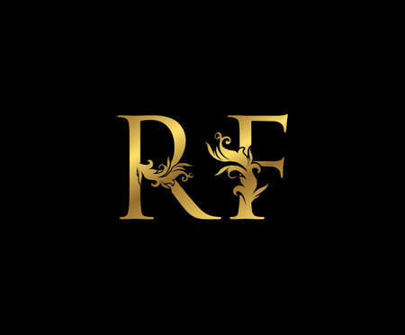 Vintage Gold R, F and RF Letter Floral logo. Classy drawn emblem for book design, weeding card, brand name, business card, Restaurant, Boutique, Hotel.
