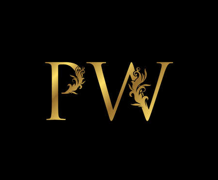Vintage Gold P, W and PW Letter Floral logo. Classy drawn emblem for book design, weeding card, brand name, business card, Restaurant, Boutique, Hotel.