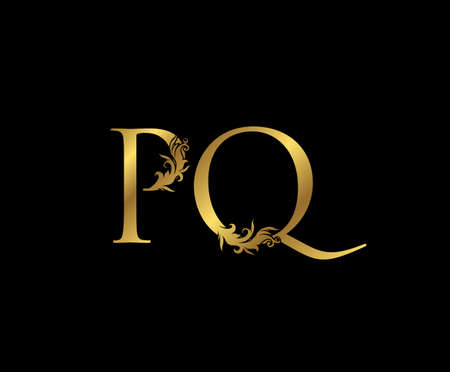 Vintage Gold P, Q and PQ Letter Floral logo. Classy drawn emblem for book design, weeding card, brand name, business card, Restaurant, Boutique, Hotel.