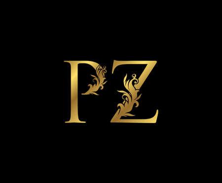 Vintage Gold P, Z and PZ Letter Floral logo. Classy drawn emblem for book design, weeding card, brand name, business card, Restaurant, Boutique, Hotel. Logos
