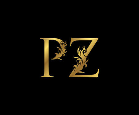 Vintage Gold P, Z and PZ Letter Floral logo. Classy drawn emblem for book design, weeding card, brand name, business card, Restaurant, Boutique, Hotel.