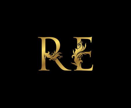 Vintage Gold R, E and RE Letter Floral logo. Classy drawn emblem for book design, weeding card, brand name, business card, Restaurant, Boutique, Hotel.