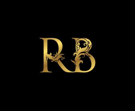Vintage Gold R, B and RB Letter Floral logo. Classy drawn emblem for book design, weeding card, brand name, business card, Restaurant, Boutique, Hotel.