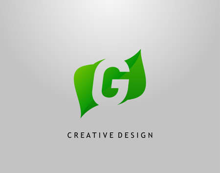 Green G Letter Logo. Modern Abstract of Initial G With Simple Leave Shape. Eco Nature Concept Design. Illusztráció