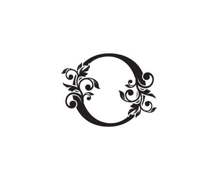 Vintage Letter O Logo. Classic O Letter Design Vector with Black Color and Floral Hand Drawn. 向量圖像