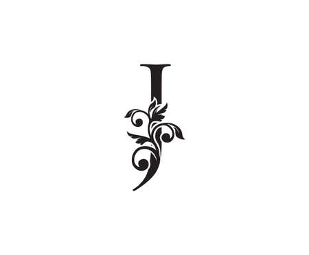 Vintage Letter J Logo. Classic J Letter Design Vector with Black Color and Floral Hand Drawn. 向量圖像