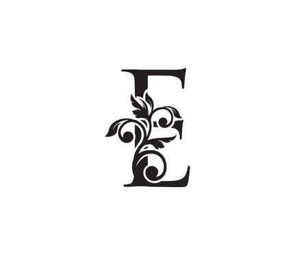 Vintage Letter E Logo. Classic E Letter Design Vector with Black Color and Floral Hand Drawn. 向量圖像