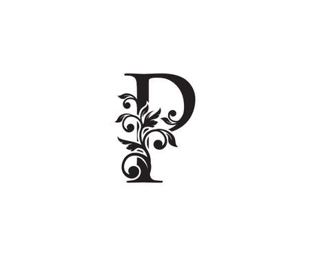 Vintage Letter P Logo. Classic P Letter Design Vector with Black Color and Floral Hand Drawn.