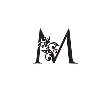 Vintage Letter M Logo. Classic M Letter Design Vector with Black Color and Floral Hand Drawn. 向量圖像