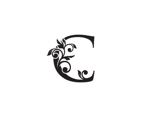 Vintage Letter C Logo. Classic C Letter Design Vector with Black Color and Floral Hand Drawn. 向量圖像