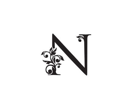 Vintage Letter N Logo. Classic N Letter Design Vector with Black Color and Floral Hand Drawn.