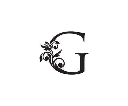 Vintage Letter G Logo. Classic G Letter Design Vector with Black Color and Floral Hand Drawn.