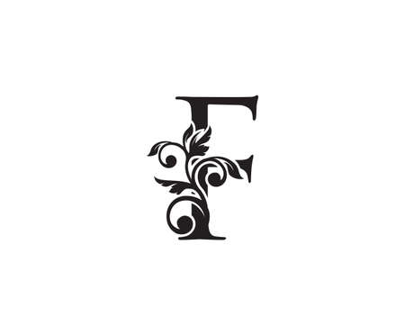 Vintage Letter F Logo. Classic F Letter Design Vector with Black Color and Floral Hand Drawn.