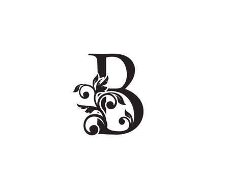 Vintage Letter B Logo. Classic B Letter Design Vector with Black Color and Floral Hand Drawn. 向量圖像