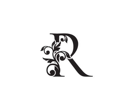 Vintage Letter R Logo. Classic R Letter Design Vector with Black Color and Floral Hand Drawn. 向量圖像