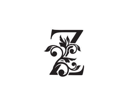 Vintage Letter Z Logo. Classic Z Letter Design Vector with Black Color and Floral Hand Drawn. 向量圖像