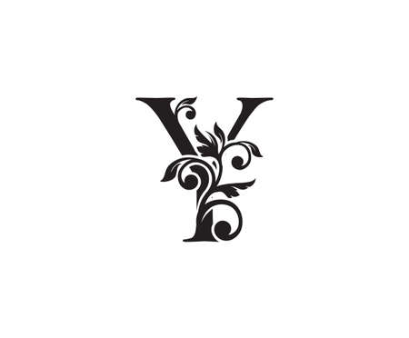 Vintage Letter Y Logo. Classic Y Letter Design Vector with Black Color and Floral Hand Drawn.