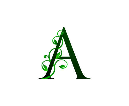 Elegant A Letter Icon with luxury green leaf logo design.