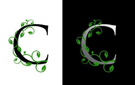 Elegant C Letter Icon with luxury green leaf logo design.