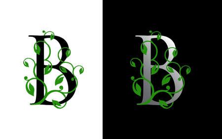 Elegant B Letter Icon with luxury green leaf logo design.