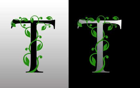 Elegant T Letter Icon with luxury green leaf logo design. Nature T Icon. Ilustração