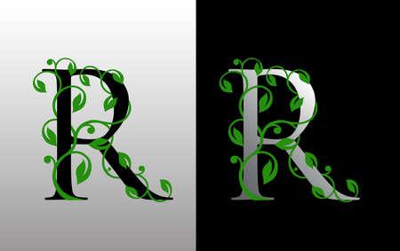 Elegant R Letter Icon with luxury green leaf logo design. Nature R Icon. Ilustração