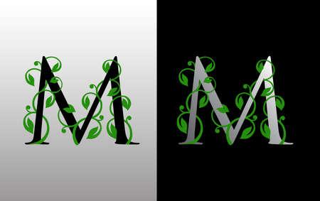 Elegant M Letter Icon with luxury green leaf logo design. Nature M Icon.