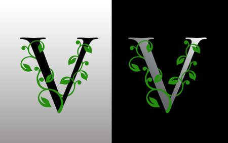 Elegant V Letter Icon with luxury green leaf logo design. Nature V Icon. Ilustração