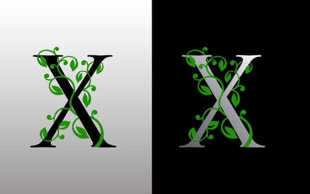 Elegant X Letter Icon with luxury green leaf logo design. Nature X Icon. Ilustração