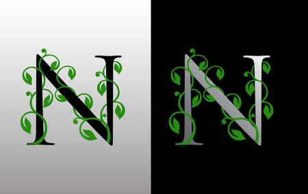 Elegant N Letter Icon with luxury green leaf logo design. Nature N Icon.