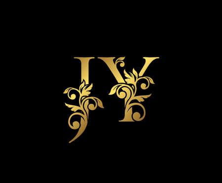 Golden JY, J and Y Luxury Logo Icon, Vintage Gold  Initials Mark Design. Elegant luxury gold color on black background