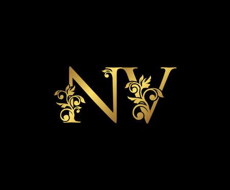 Golden NV, N and V Luxury Logo Icon, Vintage Gold  Initials Mark Design. Elegant luxury gold color on black background