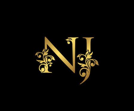 Golden NJ, N and J Luxury Logo Icon, Vintage Gold  Initials Mark Design. Elegant luxury gold color on black background