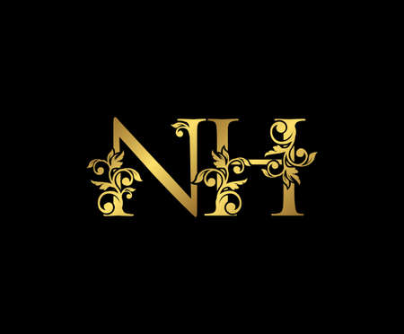 Golden NH, N and H Luxury Logo Icon, Vintage Gold  Initials Mark Design. Elegant luxury gold color on black background