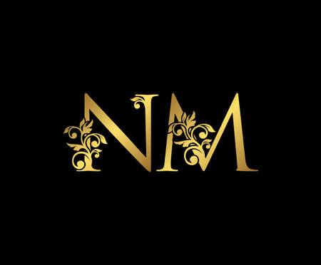 Golden NM, N and M Luxury Logo Icon, Vintage Gold  Initials Mark Design. Elegant luxury gold color on black background Ilustração