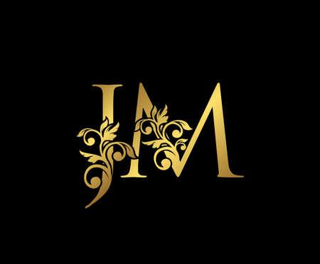 Golden JM, J and M Luxury Logo Icon, Vintage Gold  Initials Mark Design. Elegant luxury gold color on black background