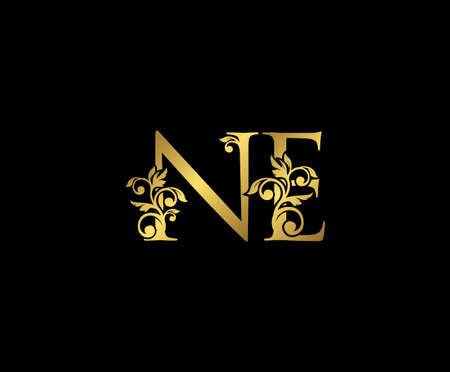 Golden NE, N and E Luxury Logo Icon, Vintage Gold Initials Mark Design. Elegant luxury gold color on black background